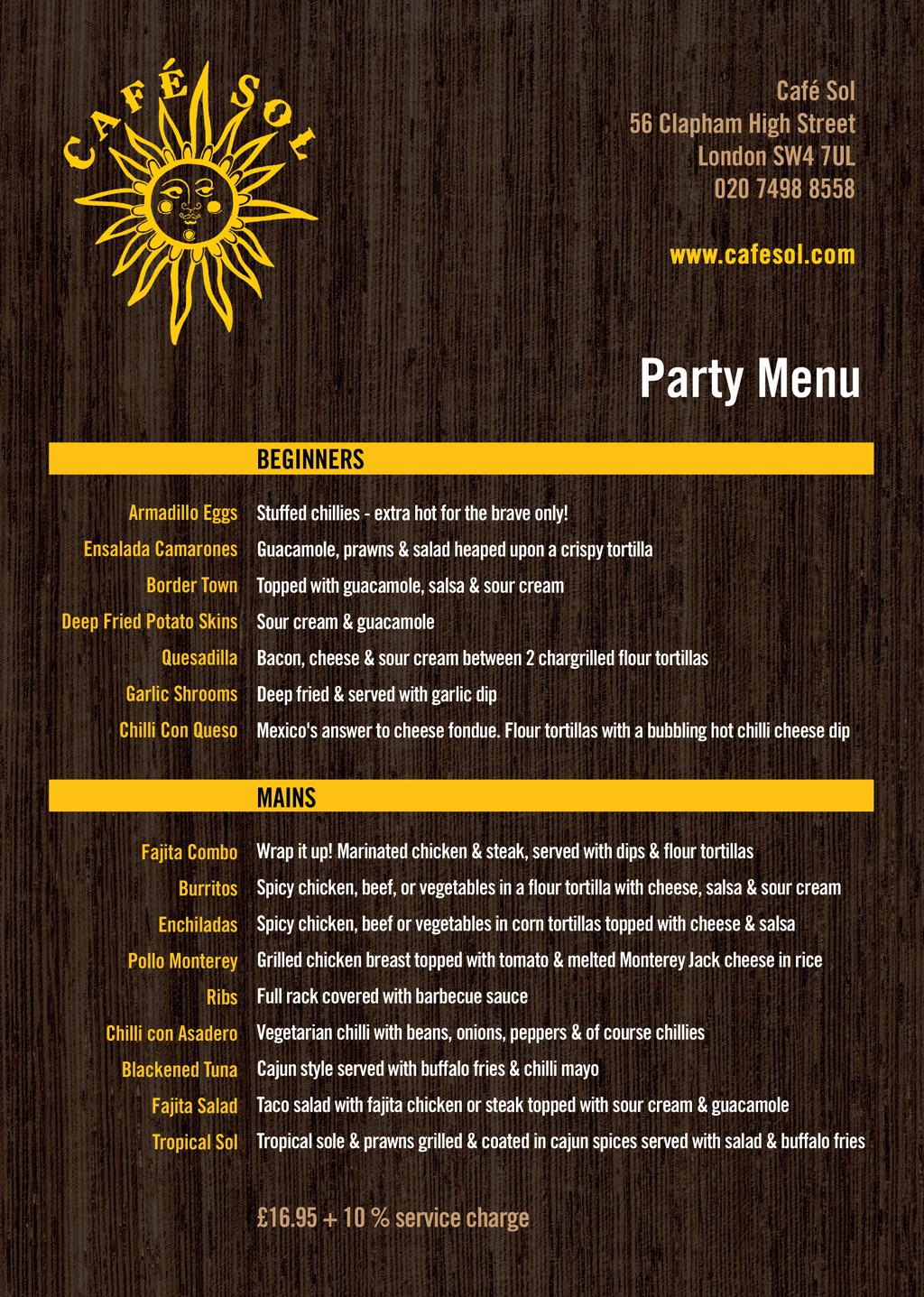 Cafe Sol - A4 Party Menu - Front - Thumbnail