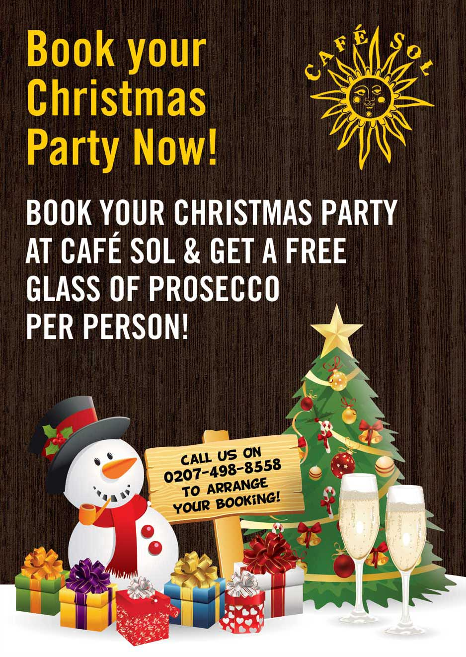 Book Your Christmas Party at Cafe Sol