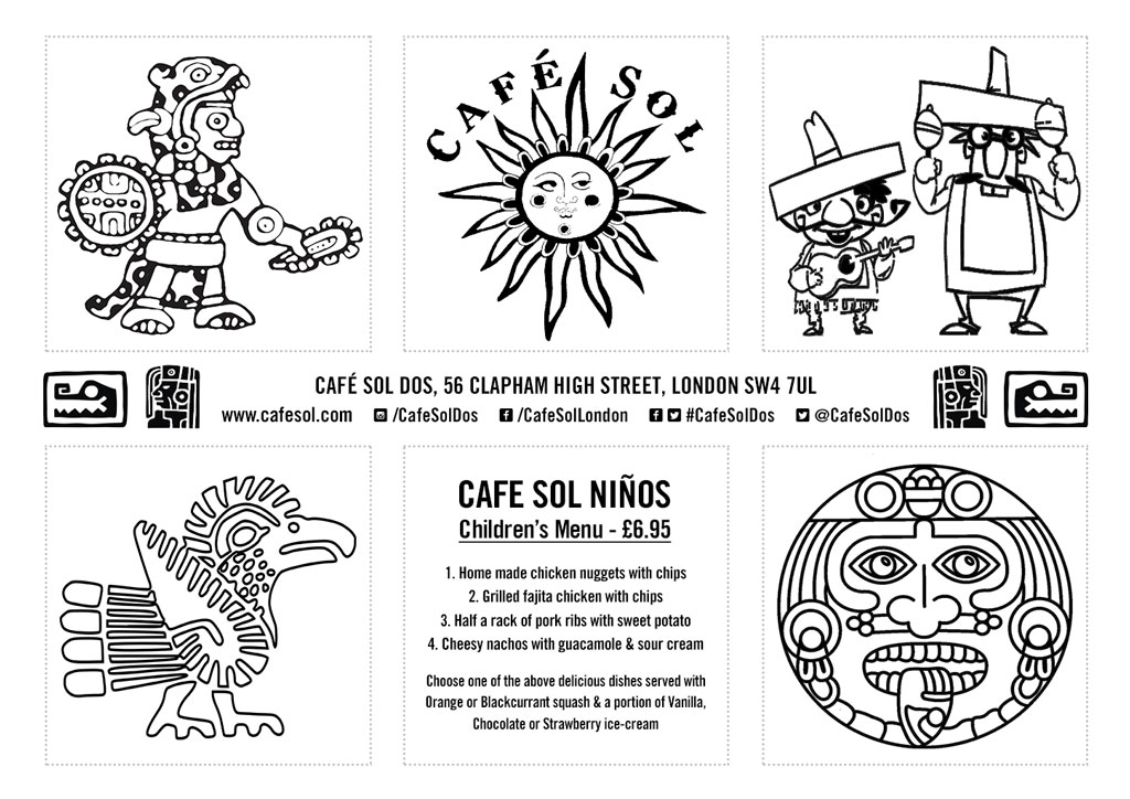 Childrens Colour-in Menu